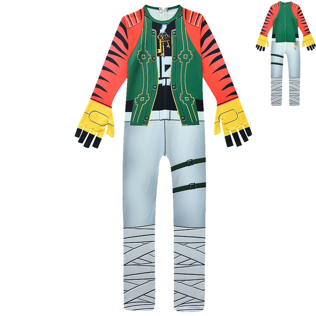Boys Carnival MEZMER / Raptor Costumes Jumpsuits Kids Clown Cosplay Clothes Halloween Costumes Raven Party Game Cosplay Costumes 4