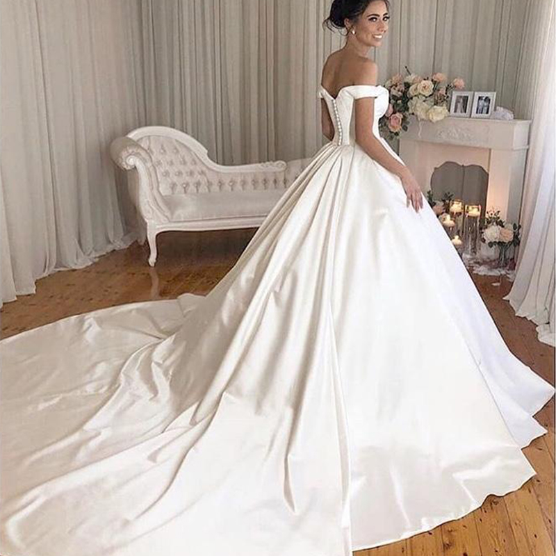 Vintage Off The Shoulder Chapel Train Custom Made White Ivory Ball Gown Satin Wedding Dresses in Wedding Dresses from Weddings Events
