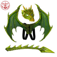 2019 Nieuwe Dinosaur Wing Kostuum Maskers Dragon Masker Disfraz De Dinosaurio Halloween Kostuum Voor Kids Kinderen Flying Dragon Cosplay(China)