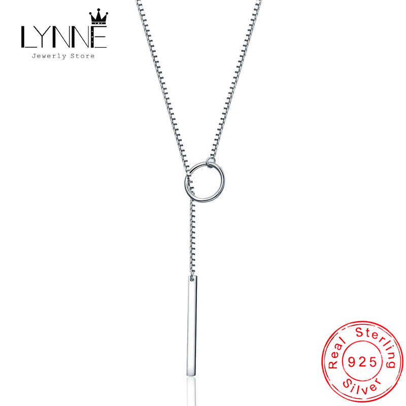 Hot Sale Fashion 925 Sterling Silver Long Tube Collarbone Necklace Round&Heart&Triangle Pendant Necklaces For Women Jewelry Gift