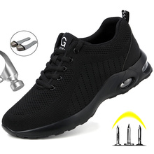 Fashion Safety Shoes Men Steel Toe Shoes Anti-puncture Work Sneakers Indestructible Work Sefety Boots Male Shoes Work Boots