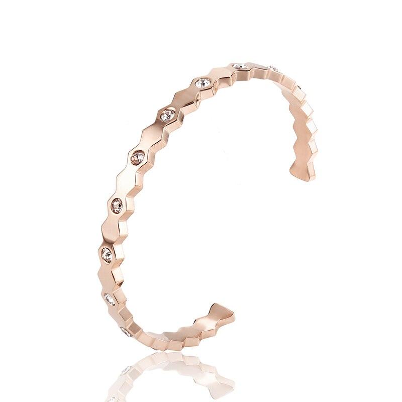 Bridal Wedding Crystal Bangle New Fashion 316L Stainless Steel with Cubic Zircon C Shape Women Bracelet & Bangle