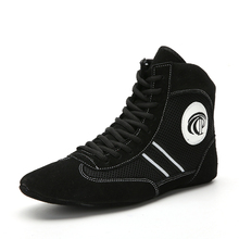 Mens Sport Wrestling Shoes Black Red Lightweight Male Training Shoes Lace Up Man Professional Boxing Shoes Fighting