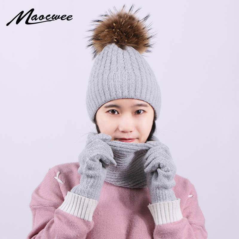 Knitted Winter Real Fur Pompon Beanie Hat Scarf Gloves Set Women Men Thick Touch Screen Gloves Pom Beanie Ring Scarf Female Sets
