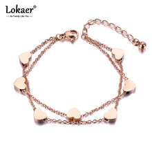 Lokaer Trendy Titanium Stainless Steel Heart Double Layers Bracelets Ladies Jewelry Chain & Link Bracelet For Women Girls B19018