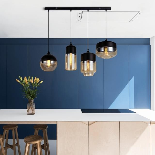 Modern Creative E27 LED Indoor Lighting Combination Hanging Lamps Bedroom Hall Living Room Loft Office Bar Glass Pendant Lights 6