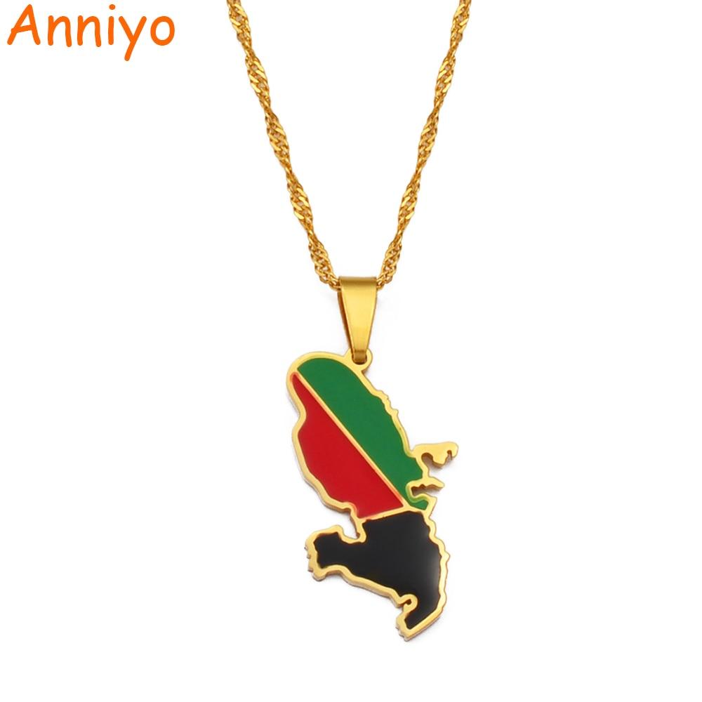 Anniyo Мартиника карта кулон в форме флага ожерелья ювелирных изделий для женщин #213121
