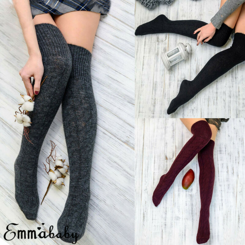 2019 New Casual Women Over Knee Wool Knit Long Socks Winter Thigh-Highs Warm Solid Color School Shopping Socks Girl