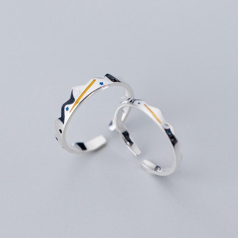 Купить кольцо leouerry для пар из серебра 925 пробы с луной и звездами