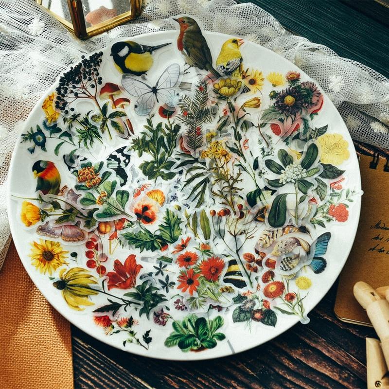 Бумажные наклейки для скрапбукинга ZFPARTY, бумажные наклейки в стиле ретро с цветами и птицами, планировщик для скрапбукинга, дневники, товары...