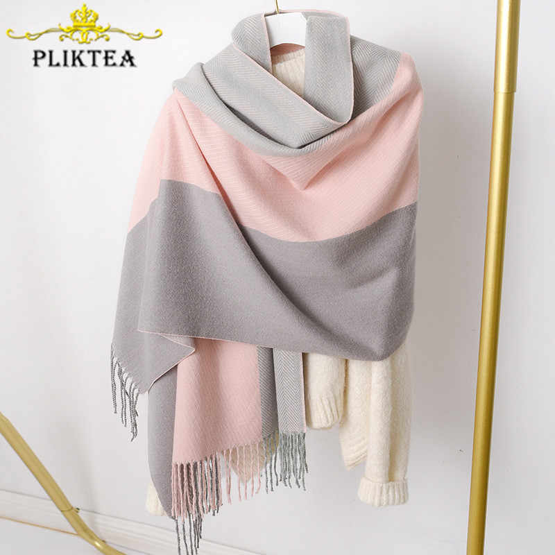 Merino Wool Patchwork Woman Winter Scarves shawl Faux Cashmere Female blanket Hijab Scarf Warp Lady Poncho Pashmina Female Stole