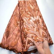 Nuevo tejido de encaje africano 2020 de alta calidad tejido de malla francesa de encaje con cuentas telas de encaje suizo Nigeriano para vestido mv358