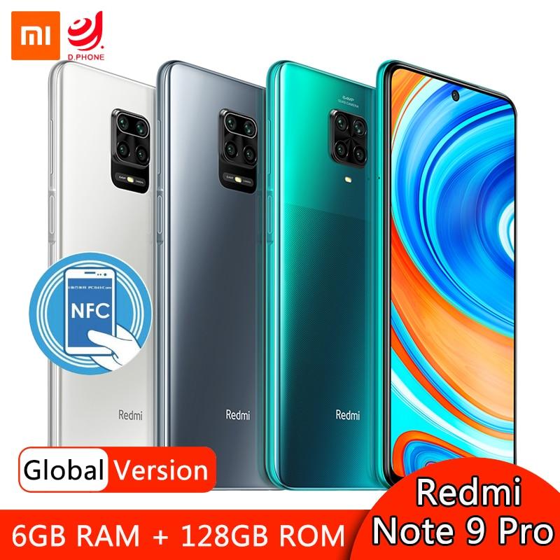 "Xiaomi redmi nota 9 pro 6gb 128gb versão global smartphone snapdragon 720g octa núcleo 64mp quad câmera 6.67 ""tela 5020mah nfc"