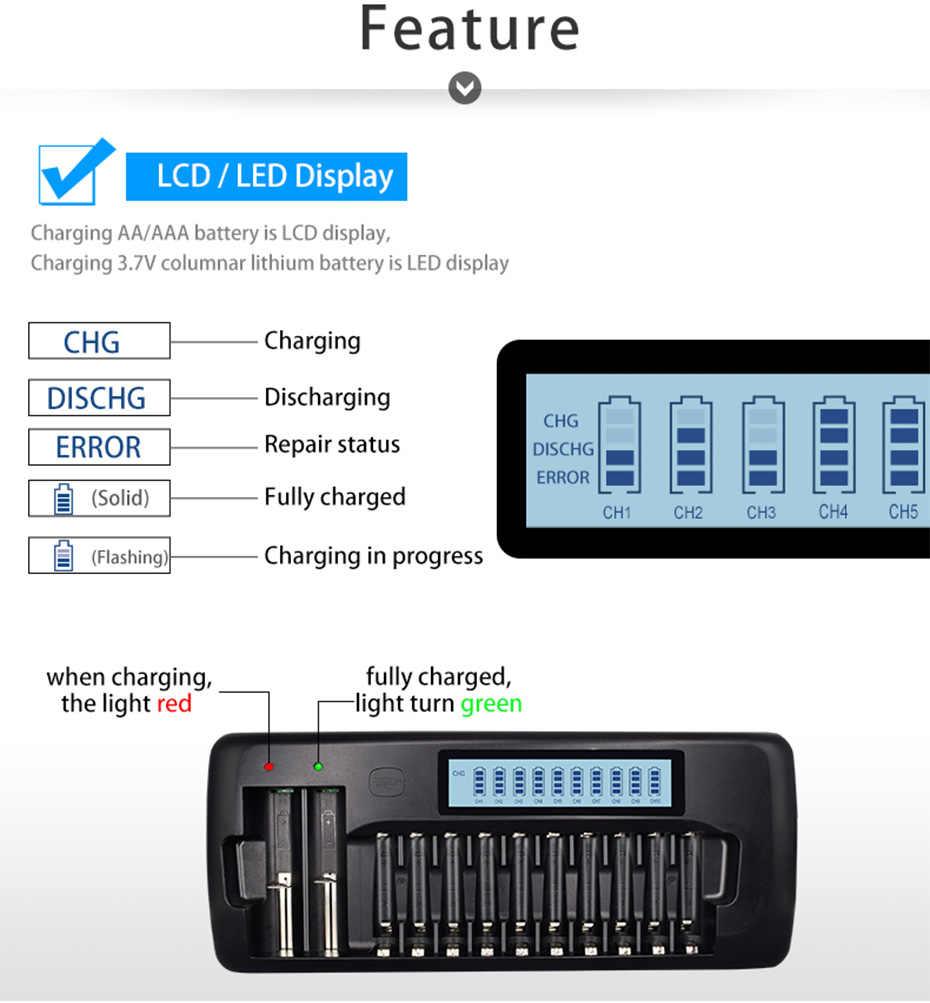 12 فتحات بالو ذكي LCD شاحن بطارية ل 18650 26650 21700 18350 AA AAA 3.7 فولت // 1.2 فولت بطارية ليثيوم NICD NiMH والتفريغ