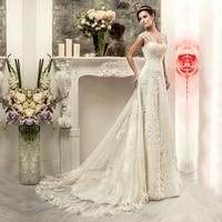 Sexy Designer Longo Mermaid Cap Sleeve Lace Appliques White Wedding Dress Custom Made Fashionable Vestido De Noiva 2015