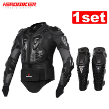 HEROBIKER Motorcycle Jacket Body Armor Protective Jacket+ Knee Pad Kits Suits Motocross