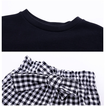 2019 Kids Girls Clothes Sets Long Sleeve T-shirts + Plaid Wide Leg Pants  Autumn Children's Clothing Teenage for 7 8 10 12 Years 6