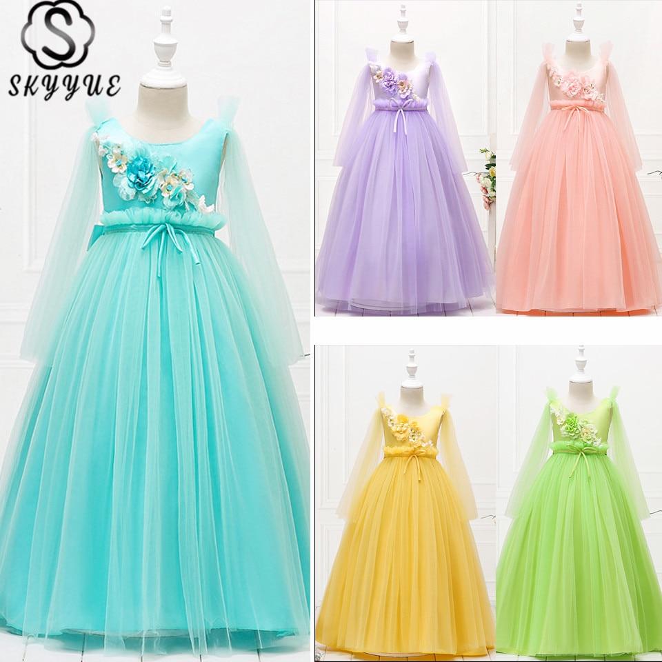 Skyyue Wedding Dresses For Girl O-Neck Printing Kid Party Dress Flower Sleeveless Tulle Lace Zipper Communion Dress 2019 152