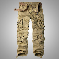 Men's Cotton Military Cargo Pants, 8 Pockets Casual Work Combat Trousers Male Military Army Camo Cargo Pants Plus Size 40 42 44