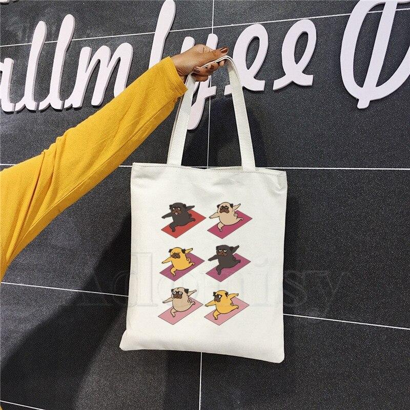 Yoga Pug Dog Ladies Handbags Cloth Canvas Tote Bag Shopping Travel Women Eco Reusable Shoulder Bags Bolsas De Tela