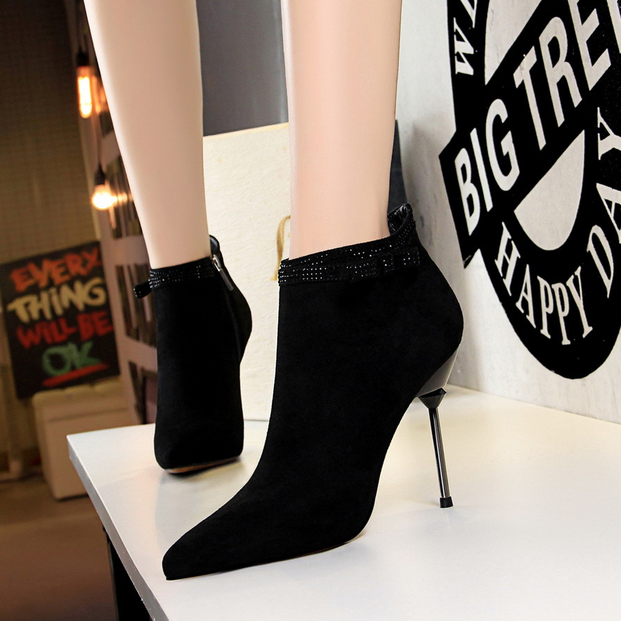 Beauty style top solid color black women red wedding shoes pointed high heel boots shoes women ankle boots