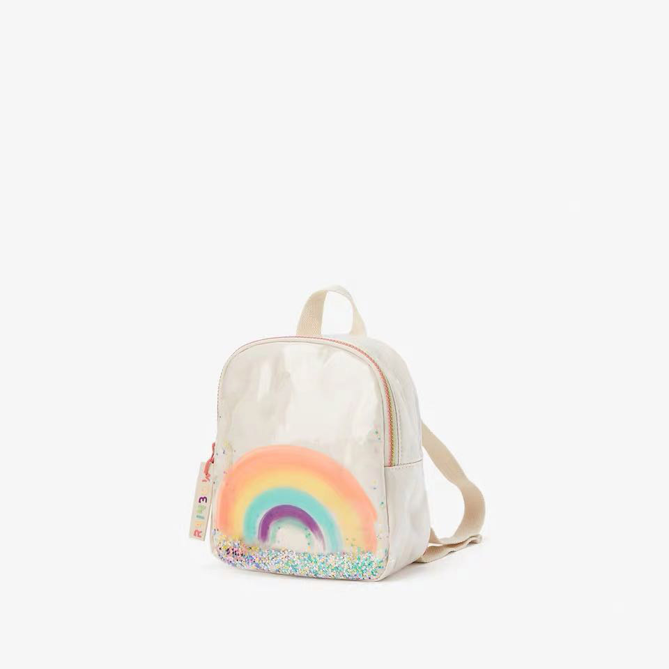 New Za Rainbow Printed Backpack Women's Bag Children's Cartoon Sequined Quicksand Child Bag
