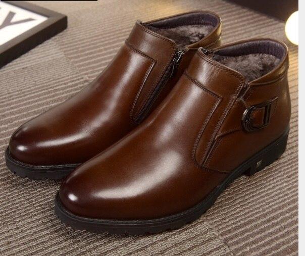 Autumn Winter Men's European American Martin Boots High-top Genuine Leather Plus Velvet Keep Warm Boots Zip Buckle Boots