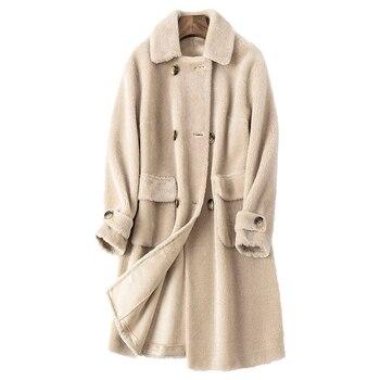 Chaqueta 100% de lana Real Abrigo de invierno para Mujer ropa de...