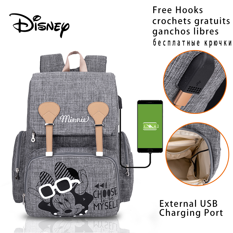 Disney Baby Diaper Bags Backpack With USB Nappy Waterproof Maternity Baby Bag For Mom Large Capacity Mummy Stroller Diaper-Bag