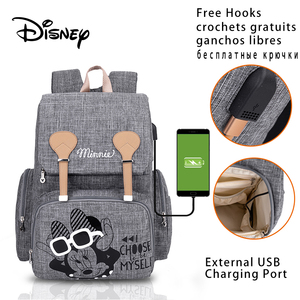 Disney Baby Diaper Bags Backpack with USB Nappy Waterproof Maternity Baby Bag for Mom Large Capacity Mummy Stroller Diaper-Bag(China)