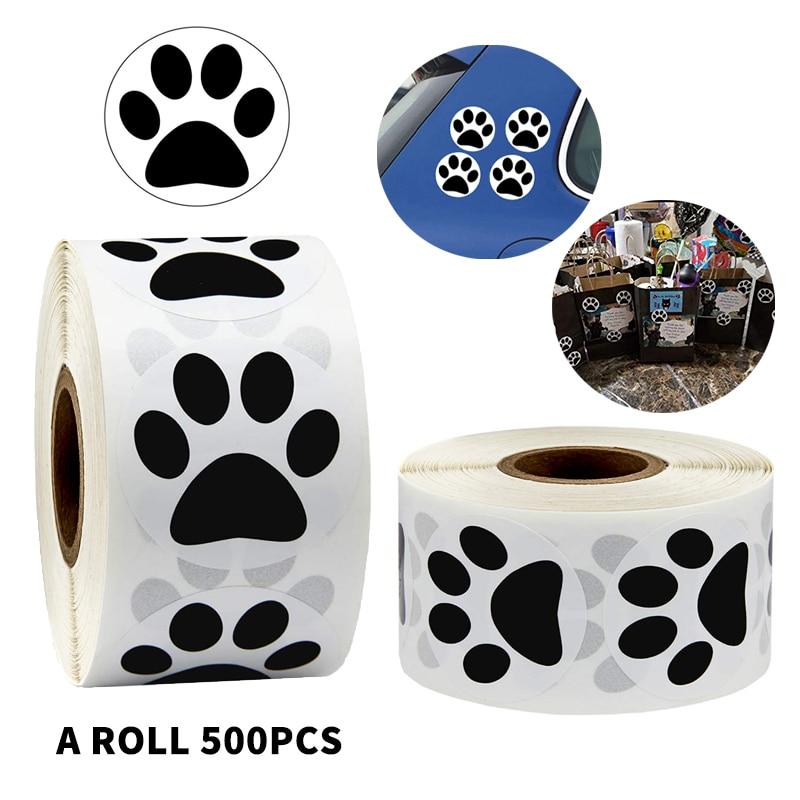 500 Pcs Black Bear Paw Print Dog Puppy Paw Stickers 1Inch As Reward Sticker Stationery Teacher For Kids Scrapbooking Stickers