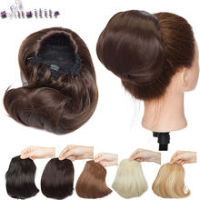 S-noilite Hepburn style chignon hair drawstring clip in hair bun synthetic chignon hairpiece for women