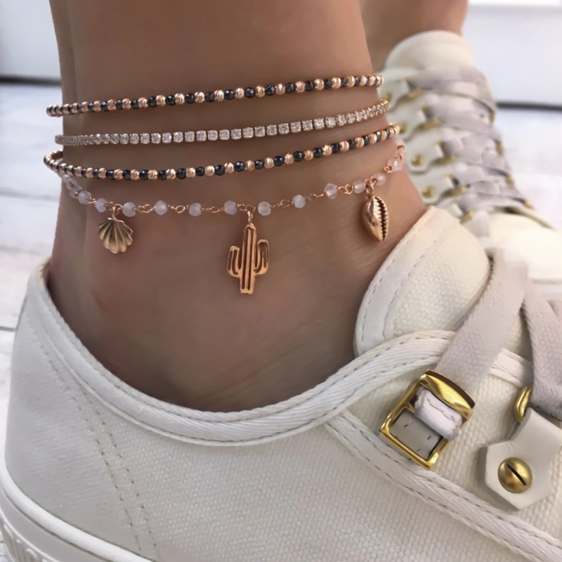 Tocona 4Pcs/Set Fine Gold Feet Chain for Women Shining Crystal Beads Anklets Set Beach Fashion Jewellery Women Accessories 8144