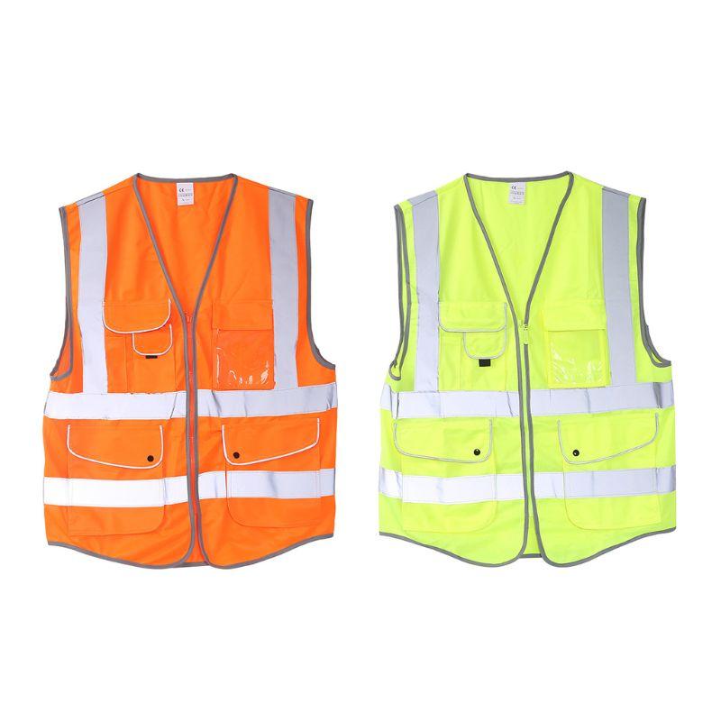 High Visibility Reflective Vest Work Wear Safety Vest Multi Pocket Reflective Strips Fluorescence