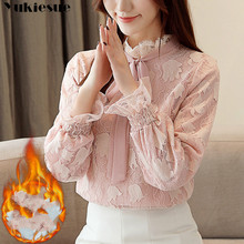 2019 Autumn Winter Fashion Lace Blouse Long Sleeve ruffless Floral Lace Shirt Wo
