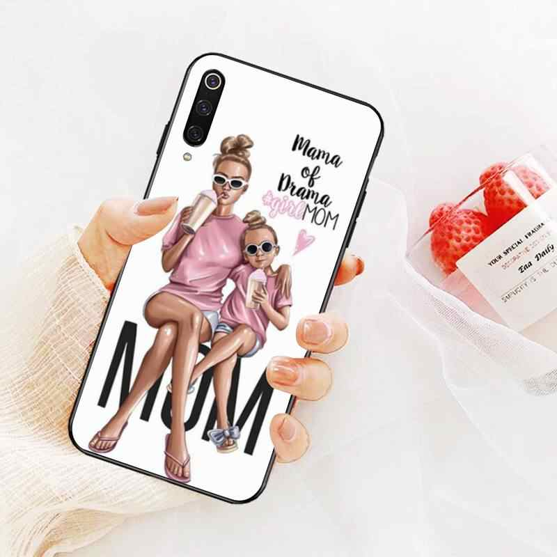 CUTEWANAN Brown Hair Baby Mom Girl Queen Soft black Phone Case for Redmi Note 8 8A 7 6 6A 5 5A 4 4X 4A Go Pro Plus Prime