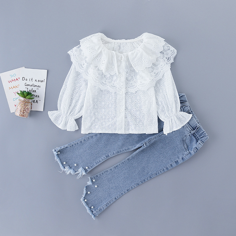 2020 Baby Girl Fashion Clothing Set Sweet Lace Tops Blouse+ Beaded Jeans Pants,kids Princess Wear Children Elegant Suits Clothe 1