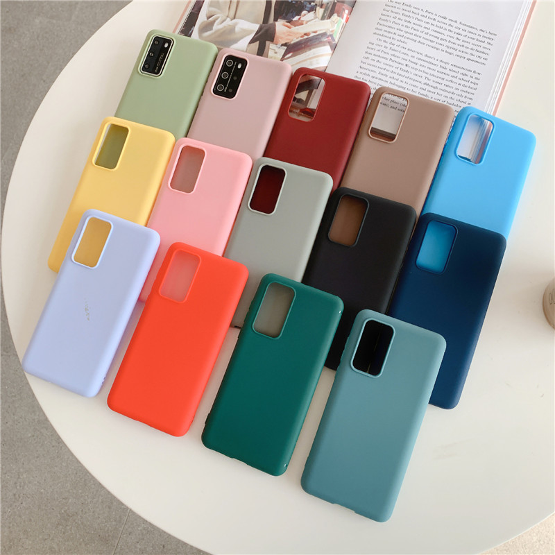 Candy Color Silicone Phone Case On For Samsung Galaxy A50 A70 A30 A40 A20 A10 A51 A71 A21 A31 A41 A10s A7 2018 Matte Back Cover