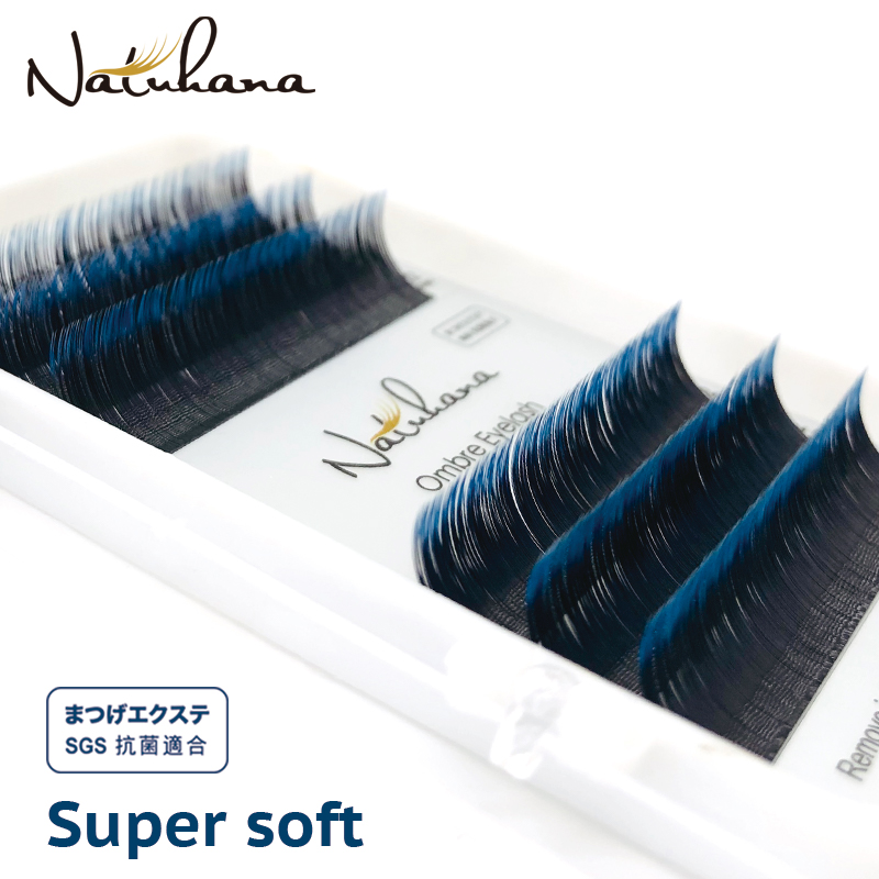 NATUHANA Blue Purple Gradient Eyelash Extension Individual Colored Faux Mink Lashes Ombre Soft Fake Eyelashes For Makeup Tools