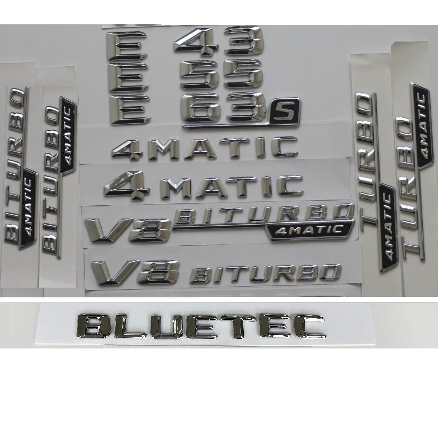 3D Chrome Letters Trunk Fender Badge For Mercedes Benz W212 W213 E43 E53 <font><b>E55</b></font> E63 E63s <font><b>AMG</b></font> Emblem V8 BITURBO TURBO 4MATIC Emblems image