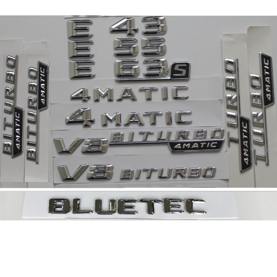 Chrome E53 AMG TURBO 4MATIC Trunk Fender Badges Emblems for Mercedes Benz