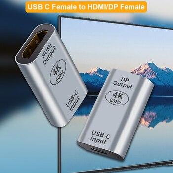 USB C to HDMI Mini Displayport Adapter 4K 60Hz USB Type c female to Mini DP Converter for Macbook Pro Huawei Mate 20