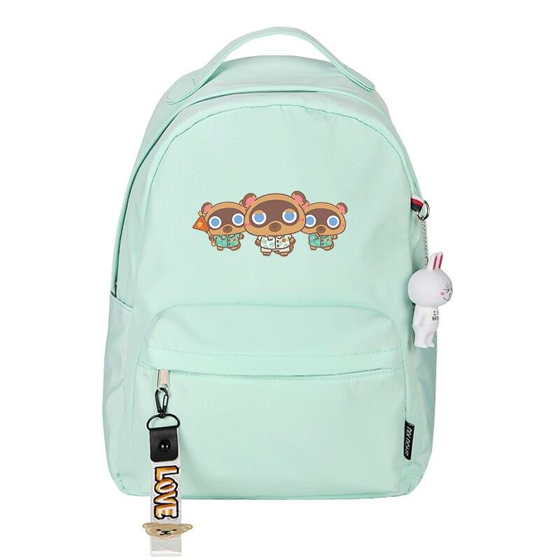 Game Animal Crossing: New Horizons Kawaii Women Backpack Girls School Bags Nylon Pink Bookbag Mini Travel Bagpack Shoulder Bags