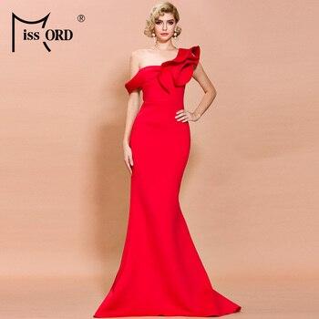 Missord 2020 Frauen Sexy Unregelmäßige Neck Off Schulter Rüschen Einfarbig Elegante Maxi Kleid FT19938