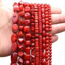 Perles de corail rouge en pierre naturelle, formes géométriques irrégulières, rondes et carrées, pour la fabrication de bijoux, collier
