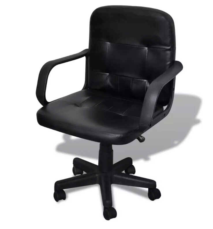 Black Mixed Leather Office Chair 59 X 51 X 81-89 Cm 20076