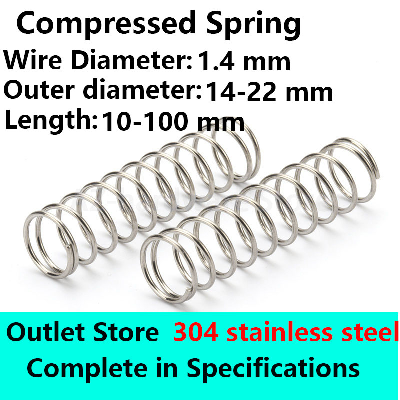 Stainless steel Compressed Spring Rotor Return Spring Wire diameter 1.4mm, External diameter 14-22mm Outlet Store