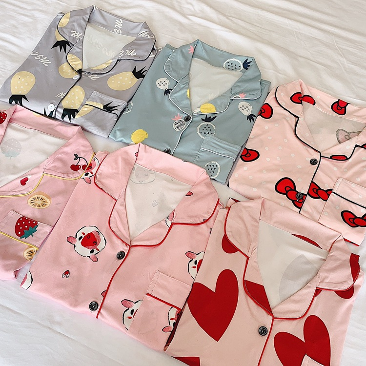 Summer 2019-WOMEN'S Suit South Korea Cartoon Printed Loose-Fit Good Comfortable Home Wear Short Sleeve Shirt Pajamas Women's