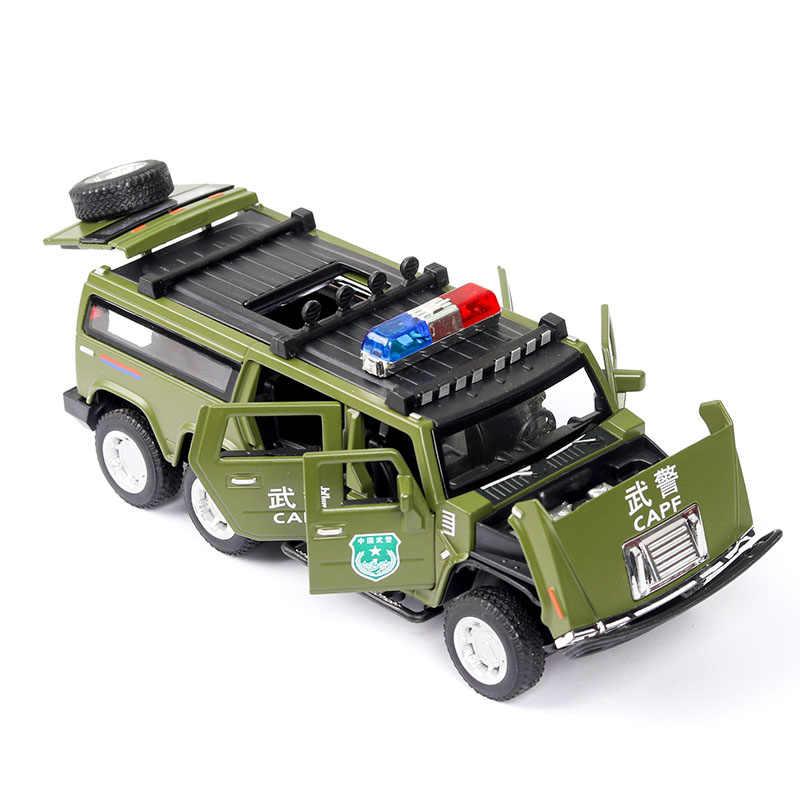 6 ruote Hummer Giocattoli pressofusi e veicoli Modello di Auto 1:32 In Lega di Metallo di Simulazione Tirare Indietro Giocattoli Per I Regali Per Bambini Per I Bambini