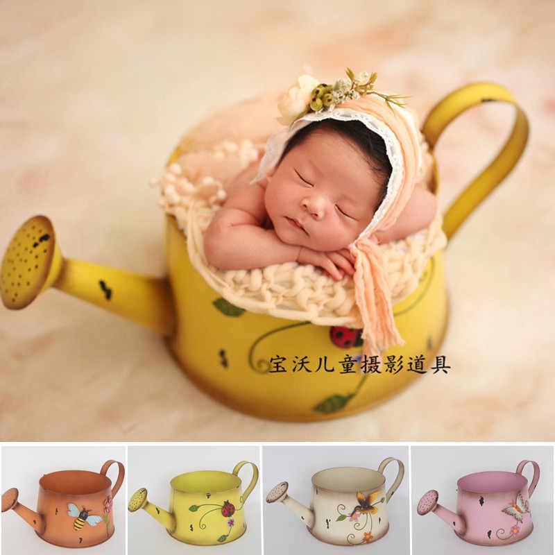 Recién Nacido Silla de atrezzo Bebe Fotografia Accesorios de hierro 3D patrón flores olla estudio bebé utilería para sesión fotográfica cesta para posar, niño, niña